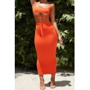 Summer Trendy Straps Cutout Sleeveless Knotted Front with High Waist Slim Fitted Midi Skirt Plain Co-ords