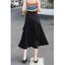 Summer Chic Fashion Plain High Waist Self-Tie Split Side Midi Modal Wrap Skirt