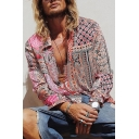 Vintage Pink Long Sleeve Tribal Printed Holiday Loose Casual Shirt for Men