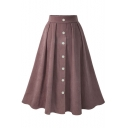 Womens High Waist Simple Plain Button Front Midi Swing Pleated Skirt