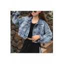 Womens Vintage Blue Bat Long Sleeve Button Down Cropped Denim Jacket