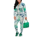 Womens Fancy Green Leaf Pattern Zip Jacket with Skinny Leggings Two-Piece Set