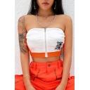 Orange Strapless Zip Front Elastic Hem Colorblock Patch Bandeau T Shirt