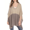 Womens Simple Grey Colorblock V-Neck Batwing Sleeve Casual Loose Poncho Sweater