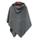 Womens New Stylish Simple Plain Asymmetrical Hem Poncho Coat