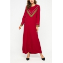 Fancy Chevron Stripe Printed Round Neck Long Sleeve Red Maxi Swing Dress