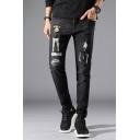 Men's New Fashion Cute Cartoon Giraffe Embroidered Black Casual Slim Ripped Jeans
