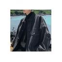 Guys Hot Fashion Plain Long Sleeve Casual Lapel Collar Pockets Loose Black Denim Jacket