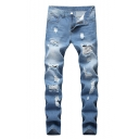 Men's Hot Fashion Simple Plain Light Washed Cool Distressed Ripped Jeans