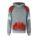 Men's New Fashion Colorblock Animal Printed Long Sleeve Casual Pocket Hoodie
