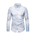 Men's Basic Long Sleeve Simple Geometric Print Lapel Collar Long Sleeve Button-Up Placket Shirt