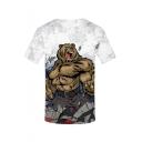 Mens Funny Short Sleeve Round Neck Bear Printed White T-Shirt