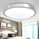 Ultra Thin Round Flush Light Minimalist Burnished Aluminum Single Light LED Ceiling Light in White
