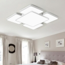 White Squared LED Ceiling Light Minimalist Modern Eye Protection Indoor Lighting Fixture with Acrylic Shade