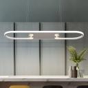 Fully Illuminious Art Deco Oval Ring LED Chandelier 47W White Finish Ellipse LED Hanging Pendant Light for Dining Table Kitchen Restaurant
