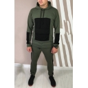Men's New Fashion Colorblock Patched Long Sleeve Drawstring Hoodie Sports Sweatpants Casual Two-Piece Set