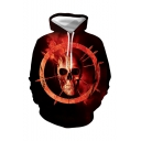 Hot Fashion Red Skull 3D Printed Long Sleeve Pullover Drawstring Hoodie