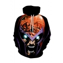 Hot Fashion Comic Figure 3D Printed Black Long Sleeve Casual Loose Drawstring Hoodie