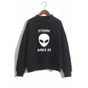 New Stylish Alien Letter Storm Area Printed Mock Neck Long Sleeve Casual Loose Sweatshirt