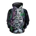 Fashion Halloween Skeleton Figure Clown with Cat 3D Printed Unisex Hoodie