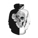 New Fashion Black and White Colorblocked Cool Floral Skull 3D Printed Casual Loose Drawstring Hoodie