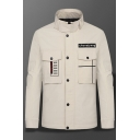 New Trendy Letter Pattern Stand Collar Long Sleeve Pockets Detail Casual Work Jacket