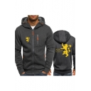 House Lannister Lion Logo Printed Long Sleeve Zip Up Fitted Hoodie
