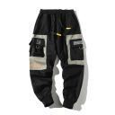 Cool Fashion Colorblock Multi-pocket Drawstring Waist Mens Trendy Sports Cargo Pants