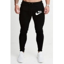 New Stylish Letter FUCK Printed Drawstring Waist Slim Fitted Cotton Casual Sports Pencil Pants for Men