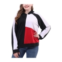 Women's Fashion Colorblocked Long Sleeve Loose Fitted Hoodie