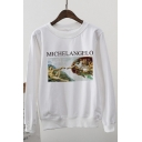 Women's MICHELANGELO Letter Statue Print Long Sleeve Round Neck White Sweatshirt
