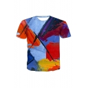 New Arrival Popular Oil Painting Pattern Round Neck Short Sleeve Casual T-Shirt For Men