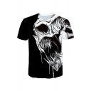 New Arrival Cool Skull Print Round Neck Short Sleeve Casual Loose Black T-Shirt