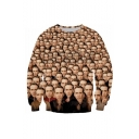 Popular Famous Actor Figure 3D Printed Round Neck Long Sleeve Khaki Pullover Hoodie