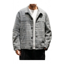 New Stylish Classic Plaid Print Lapel Collar Long Sleeve Single Breasted Loose Casual Coats