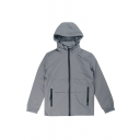 New Trendy Simple Plain Zip Closure Long Sleeve Removable Hooded Jacket For Men