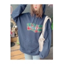 New Stylish Letter Embroidered Long Sleeve Pocket Pullover Drawstring Hoodie