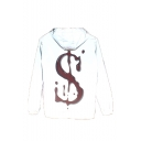 Mens New Stylish Reflecting Letter $ Print Long Sleeve Hooded Zip Up White Jacket