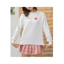 Cute Love Heart Embroidered Round Neck Long Sleeve Pullover Sweatshirt