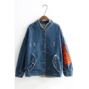 YOURSELF Arrow Pattern Print Flip Pockets with Press Buckle Denim Raw Edges Jacket Coat