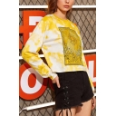 Stylish Yellow Cartoon Sun Letter Print Round Neck Long Sleeve Cropped Tie-Dyed Pullover Sweatshirt