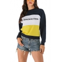 Hot Women's More Love Love More Letter Print Round Neck Long Sleeve Color Block Pullover Sweatshirt