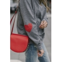 Love Print Round Neck Long Sleeves Gray Leisure Pullover Sweatshirt