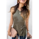 Women Summer Hot Sale Sleeveless Round Neck Knotted Detail Green Tank