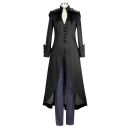 Vintage High Collar Convertible Long Sleeve Lace-up Back Longline Hooded Swallowtail Coat
