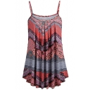 Women's Summer New Trendy Straps Sleeveless Tribal Print Pleated Sexy Leisure Cami Top