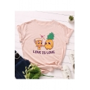 Unique Cute Comic Letter LOVE IS LOVE Pattern Round Neck Short Sleeve Casual T-Shirt