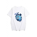 Hot Fashion Heart Printed Round Neck Short Sleeve Casual Tee