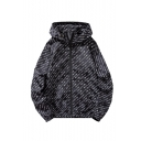Men's Hot Fashion Letter Printed Long Sleeve Zip Up Hip Hop Loose Hooded Casual Jacket