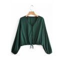 Solid Color V Neck Drawstring Waist Dark Green Cropped Coat